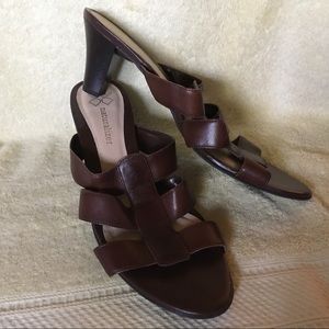 Naturalizer Brown Leather Strappy Slides, Sz 9.5M